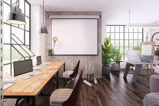 Open Plan「Small office interior  with projector screen」:スマホ壁紙(17)