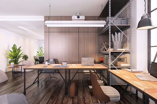 Teamwork「Small office interior with large office desk」:スマホ壁紙(3)