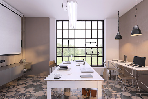 Ceiling「Small office interior with large desk」:スマホ壁紙(7)