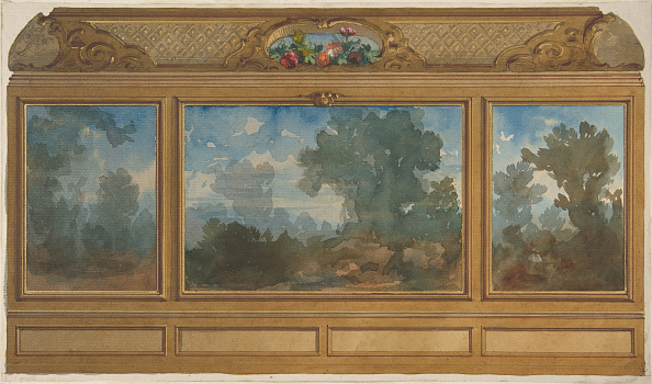 Wood Paneling「Elevation Of A Paneled Interior Decorated With Painted Landscapes And Coves With」:写真・画像(1)[壁紙.com]