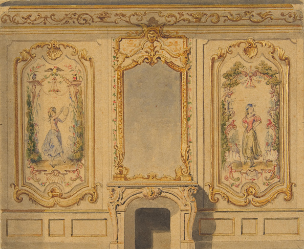 Ornate「Elevation Of An Interior Wall Decorated With A Chimney Piece Surmounted By A Mirror」:写真・画像(16)[壁紙.com]