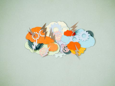Conceptual Symbol「Brainstorming, paper cutting style」:スマホ壁紙(5)