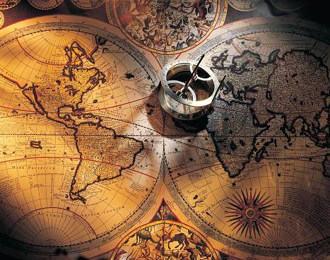 世界地図「Compass on map」:スマホ壁紙(15)