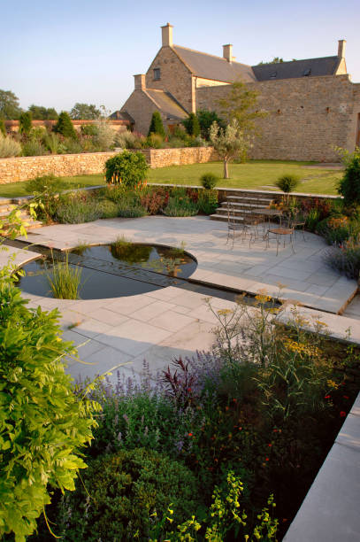 A walled country garden with a cascade and pool water feature Somerset UK:ニュース(壁紙.com)