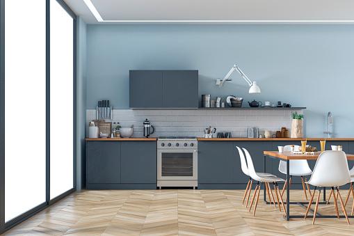 Renovation「Modern kitchen and dining room stock photo」:スマホ壁紙(9)