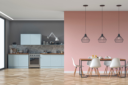 Pink Color「Modern kitchen and dining room stock photo」:スマホ壁紙(14)