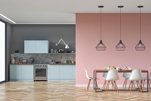 ピンク「モダンなキッチンとダイニングルームのストック写真」:スマホ壁紙(13)