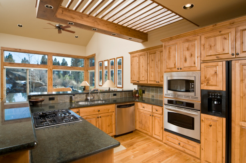 Ceiling Fan「Modern kitchen with hardwood cabinets and floor」:スマホ壁紙(0)
