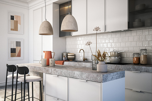 Scandinavia「Modern kitchen interior stock photo」:スマホ壁紙(11)
