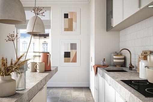 Scandinavia「Modern kitchen interior stock photo」:スマホ壁紙(3)