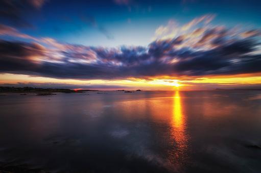 East Lothian「United Kingdom, Scotland, East Lothian, North Berwick, Firth of Forth, Sunset」:スマホ壁紙(1)