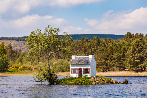 Hut「United Kingdom, Schottland, Highlands, Lairg, Loch Shin, small Island with birdhouse」:スマホ壁紙(19)