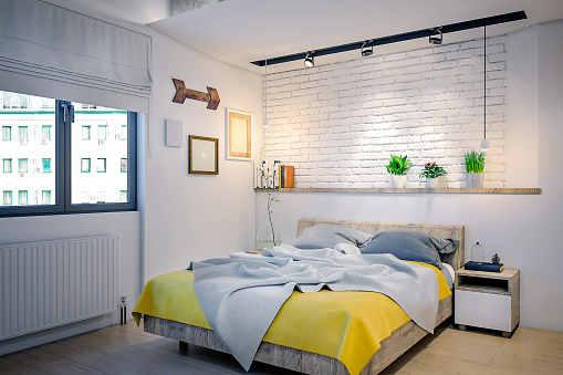 Brick Wall「Modern bed and yellow details」:スマホ壁紙(12)