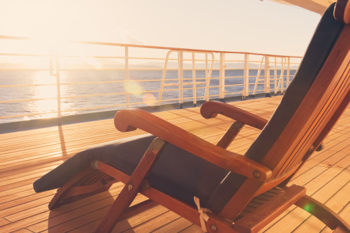 Sunset sea「Deck Chair on a Cruise Ship」:スマホ壁紙(0)