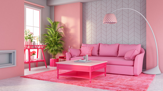 Two Objects「Pastel Pink Living Room with Sofa and Furniture」:スマホ壁紙(1)