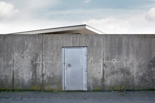 Digital Composite「Building behind a wall with a safety door, composing」:スマホ壁紙(6)