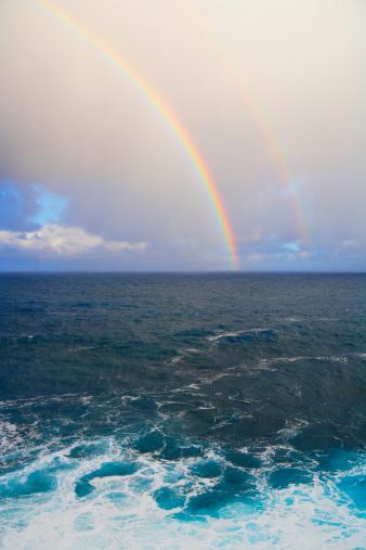 Double Rainbow「Rainbow appears over ocean at horizon at dusk」:スマホ壁紙(3)