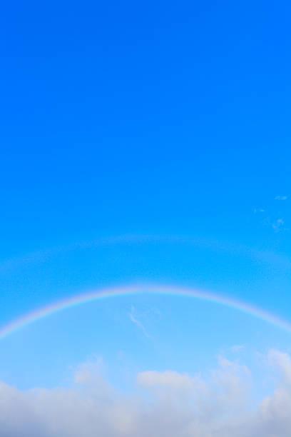 Rainbow appears over cloud at blue sky.:スマホ壁紙(壁紙.com)
