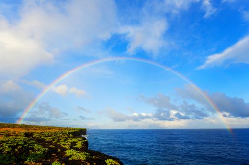 虹「Rainbow appears over coastline at dusk」:スマホ壁紙(18)