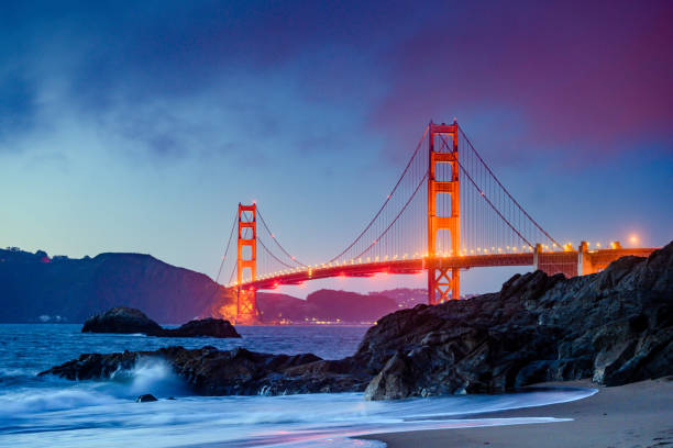 Landmark Golden Gate Bridge in San Francisco at Dusk:スマホ壁紙(壁紙.com)