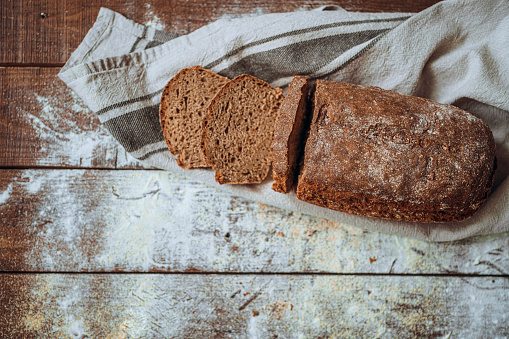 Loaf of Bread「Freshly baked bread, view from top」:スマホ壁紙(2)