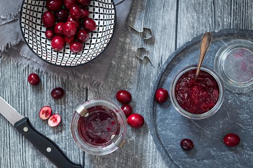 Bowl「Preserving glasses of cranberry jam and fresh cranberries」:スマホ壁紙(18)