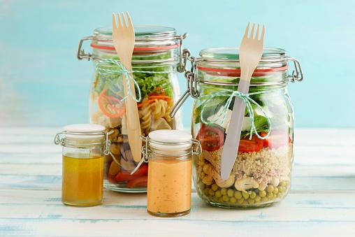Vinaigrette Dressing「Preserving jars of mixed salads and jars of dressings」:スマホ壁紙(19)