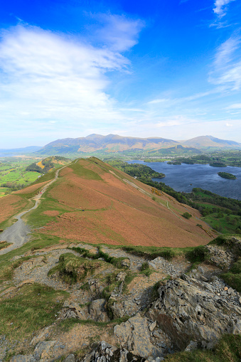 Color Image「View over Catbells fell, Lake and Derwentwater, Lake District National Park」:スマホ壁紙(15)