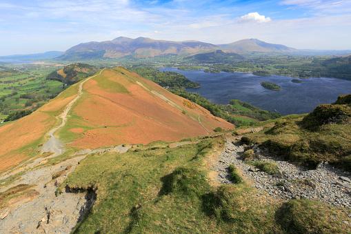 Color Image「View over Catbells fell, Lake and Derwentwater, Lake District National Park」:スマホ壁紙(7)