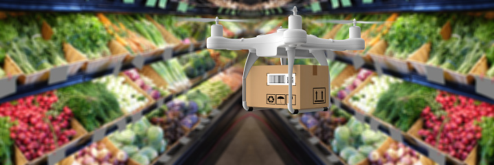 Supermarket「Delivery drone carrying groceries」:スマホ壁紙(5)