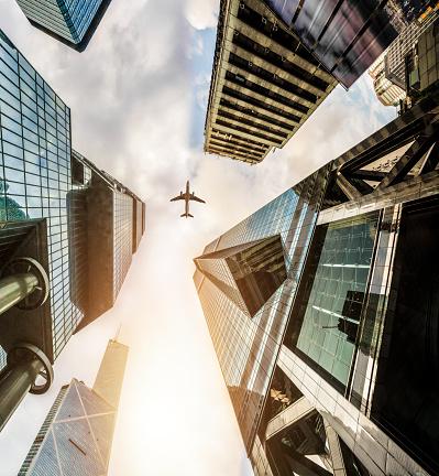 Airplane「Plane fly on Business towers in HongKong」:スマホ壁紙(11)