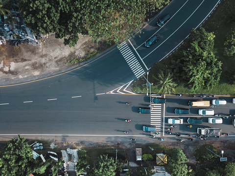 Motorcycle「Indonesia, Bali, Sanur, Aerial view of cars and motorbikes on the road」:スマホ壁紙(16)