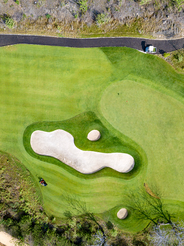 Sand Trap「Indonesia, Bali, Aerial view of golf course」:スマホ壁紙(12)