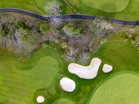 Sand Trap「Indonesia, Bali, Aerial view of golf course」:スマホ壁紙(2)