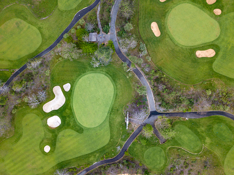 Green - Golf Course「Indonesia, Bali, Aerial view of golf course」:スマホ壁紙(18)