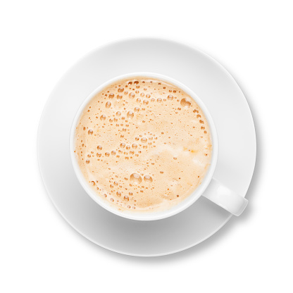 Latte「新鮮な泡のようなラテのコーヒーカップとソーサーホワイト」:スマホ壁紙(9)
