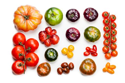 Orange - Fruit「Tomato varieties isolated on white background」:スマホ壁紙(7)
