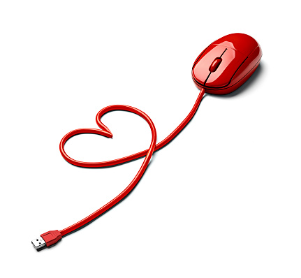 ハート「Red computer mouse and cable shaped like a heart on white ground」:スマホ壁紙(6)