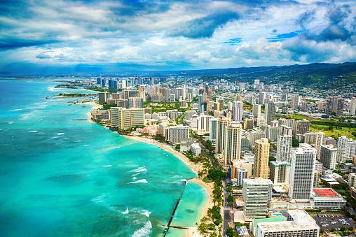 オアフ島「ハワイのホノルルのワイキキ ビーチ航空」:スマホ壁紙(17)