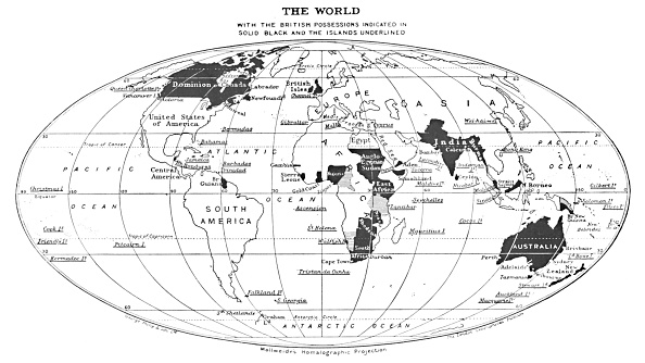 British Empire「The World With The British Possessions Indicated In Solid Black And The Islands Underlined」:写真・画像(5)[壁紙.com]