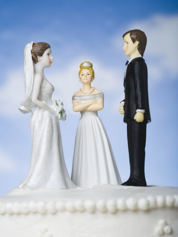 Married「Wedding cake visual metaphor with figurine cake toppers」:スマホ壁紙(8)