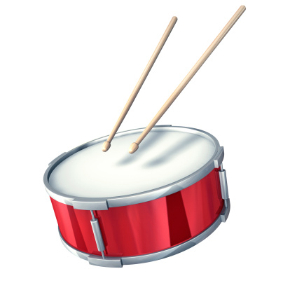 Digital Composite「Red drum with drumsticks on a white background」:スマホ壁紙(1)