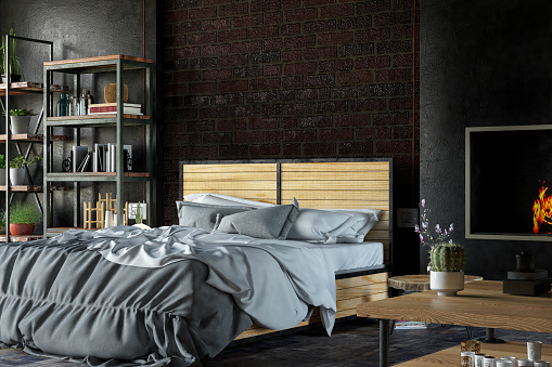 Rustic「Loft Black Bedroom」:スマホ壁紙(2)
