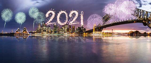 Sydney Harbor Bridge「New Year's 2021 Fireworks firework exhibition in Sydney Harbor」:スマホ壁紙(19)