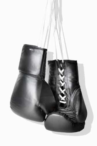 Boxing - Sport「Boxing gloves hanging against white background, close-up」:スマホ壁紙(7)