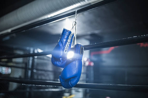 Boxing gloves hanging in boxing ring:スマホ壁紙(壁紙.com)