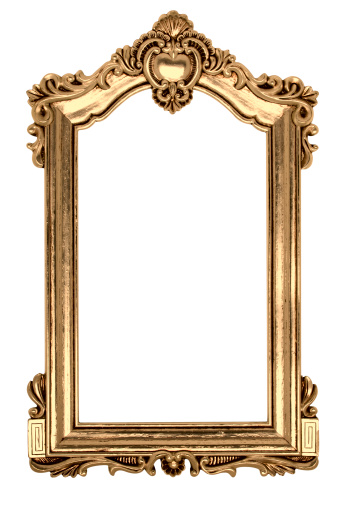 Antique「Gold Gothic Picture Frame. Isolated on White with Clipping Path」:スマホ壁紙(11)