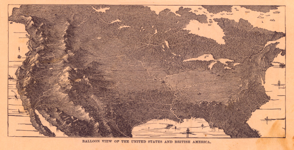 Great Lakes「Black & White Illustration, Balloon View of North America, 1867」:スマホ壁紙(7)