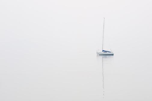 Nautical Vessel「Moored Sailboat on Lake Garda.」:スマホ壁紙(3)