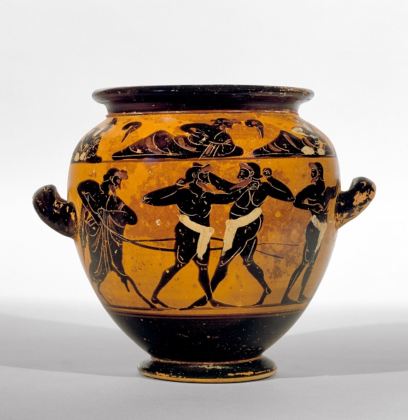 Ceramics「Athenian Black-Figure Stamnos Depicting Athletes Around Belly Of The Vase And A Symposium Of Men And Artist: Michigan Painter.」:写真・画像(1)[壁紙.com]